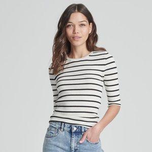 Naadam Striped Summer Silk Cashmere Top